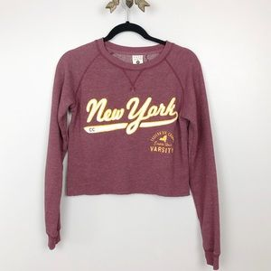 New York burgundy cropped sweater size small 584